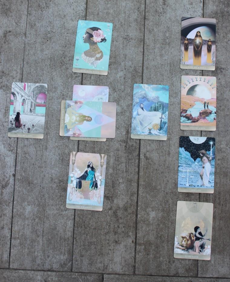 Ten card tarot spread. Ask the Universe for life guidance